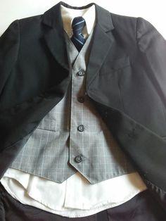Formal Four Piece Set Suit Coat Jacket Vest Shirt and Tie Boys Size 7 Black  #Cherokee #DressyHoliday