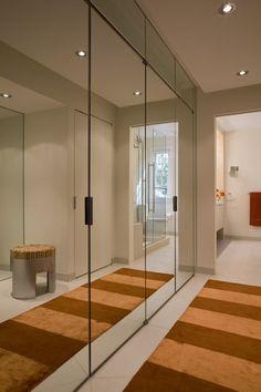 Modern Closet Design, Pictures, Remodel, Decor and Ideas - Mirror Closet Mirrored Wardrobe Doors, Mirror Closet Doors, Hallway Closet, Mirror Door, Closet Bedroom, Wardrobe With Mirror, Modern Closet Doors, Glass Wardrobe, Cabinet Closet