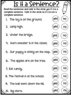 Different Types of Sentences - No Prep! by Shining and Climbing in First Teaching Genre, Teaching Writing, 2nd Grade Worksheets, Grammar Worksheets, Different Types Of Sentences, Incomplete Sentences, Sentence Fragments, Ensaymada, First Grade Words