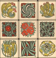 1914 Antique DECORATIVE ARTS Square Fillings Decorations Art Nouveau Ornamental Lithograph by catladycollectibles on Etsy