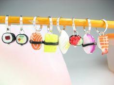 Sushi Stitch Markers Set of 8 food stitch marker by beadpassion