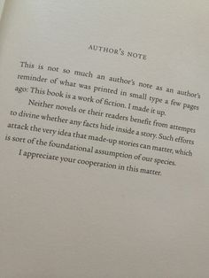 Author's Note from The Fault In Our Stars by John Green