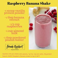 "Amanda Nighbert, RD ""Looking for a refreshing , yummy shake to drink on the go? Give the Raspberry, Banana shake a try! Low Carb Protein Shakes, Protien Shake Recipes, High Protein Smoothies, Easy Smoothies, Smoothie Recipes, High Protien, Lean Protein, Smoothie Drinks, Recipes"