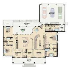 Ranch Plan: 2,981 Square Feet, 3 Bedrooms, 3.5 Bathrooms - 046-00277 Square Feet, Ranch, House Plans, Floor Plans, How To Plan, Bedroom, Cottage, Homes, Guest Ranch