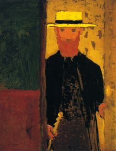 jean-édouard vuillard(1868–1940), self-portrait with cane and straw hat, c. 1891. oil on canvas, 36 x 28.5 cm. private collection. http://www.the-athenaeum.org/art/detail.php?ID=54540; c. 1890 http://www.the-athenaeum.org/art/detail.php?ID=70222