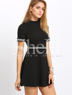 Vestido cuello mock color combinado -negro-Spanish SheIn(Sheinside)