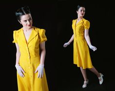 1940s Yellow Dress / Polka dot / Tea dress / Swing by LaVieEnSwing, $140.00  Radio transmitter size 10
