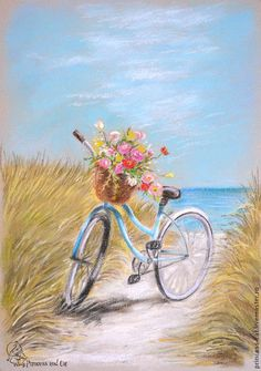 Precious bicycle on the beach painting with flowers in the basket. Precious bicycle on the beach painting with flowers in the basket. Bicycle Painting, Bicycle Art, Art And Illustration, Pastel Art, Beach Art, Pictures To Paint, Beautiful Paintings, Painting Inspiration, Painting & Drawing