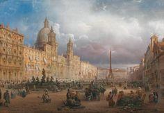 Il mercato di Piazza Navova  Carlo Bossoli (1815 – 1884)