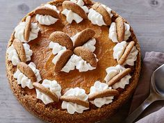 Food Network's Gingersnap Pumpkin Pie with Ginger Cream