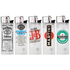 5 Assorted Clipper Lighters - Alcohol Brands - www.millscollectables.com
