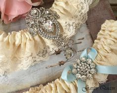 Ivory Wedding Garter Set Ivory Bridal Garter Set by GarterQueen