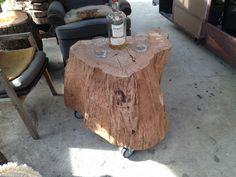 California Coastal Live Oak Stump Table On Caster Wheels