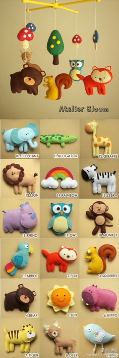 Felt crafting ideas - animals & objects for baby mobile or ....