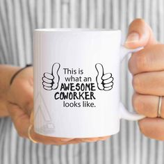 """christmas gifts for coworkers, Coworker gift, """"this is what an awesome coworker looks like"""" mug, thank you gifts, coworker leaving MU405 by artRuss on Etsy"""