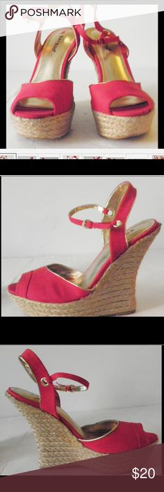 ❤NEW❤ Bamboo Red Wedges ❤️NEW Bamboo Red Wedges, open toe platform, gold detailing with buckle closure. Size 7.5 $20  🌸 Please ask all your questions before you purchase. I'm happy😊 to help  🌸 Sorry, no trades or hold. 🌸 Please, no lowball offers. 🌸 Please use the Offer Button 🌸 Bundle for your best prices 🌸 Ships next day, if possible 🎀 Thank you for visiting my closet 🎀 Bamboo Shoes Wedges