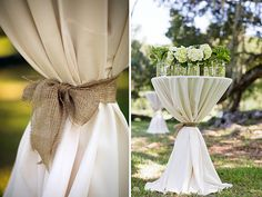 Burlap and linen wedding reception tables. This a great option for Colorado outdoor weddings.