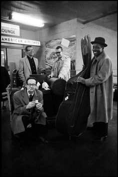 The Dave Brubeck Quartet, photo by Dennis Stock, Idlewild Airport, New York © Magnum Photos Gjon Mili, Jamie Cullum, Jazz Artists, Jazz Musicians, James Dean, Art Blakey, Good Music, My Music, Music Icon