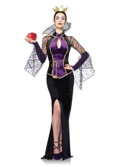 Leg Avenue Disney 3Pc.Evil Queen Includes Dress Belt and Crown Head Piece, Black, Large Leg Avenue