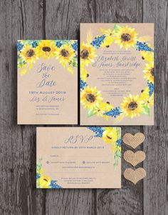 Rustic kraft wedding stationery with watercolour sunflowers and cornflower / navy blue florals. Perfect for a barn or outdoor summer wedding. The collection includes Save the Dates, Invitations / Invites, reply cards, guest information cards, gift poem cards, table names and numbers, menus and seating plans. All available as a digital printable PDF or printed and delivered. Personalise online with your own text #planaweddingnumbers