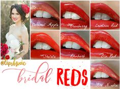 My favorite Red Lip Colors for Brides. LipSense is perfect for wedding because it won't kiss off or smudge, and you won't need to worry about reapplying!