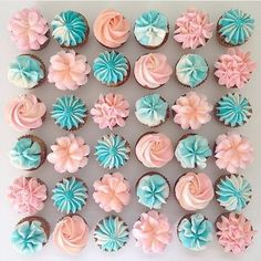 We love these soft and sweet mini pink and blue cupcakes from 💕💙 They would be great for a gender reveal party or any celebration! Mini Cupcakes, Cupcakes Roses, Blue Cupcakes, Baby Shower Cupcakes, Cupcake Party, Pretty Cupcakes, Baby Reveal Cakes, Gender Reveal Cupcakes, Gender Reveal Decorations