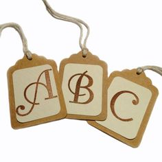 10 Custom Initial Monogram Kraft Gift Tags, All Repurposed, Recycled Materials, Hand Punched, Hand Stamped