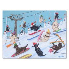 Winter Fun Skiing Labradors Painting Tissue Paper - Xmas ChristmasEve Christmas Eve Christmas merry xmas family kids gifts holidays Santa