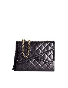 422f9ee80e Chanel Vintage Black Quilted Lambskin Crossover Double Flap Tassel Bag -  from Amarcord Vintage Fashion Chanel