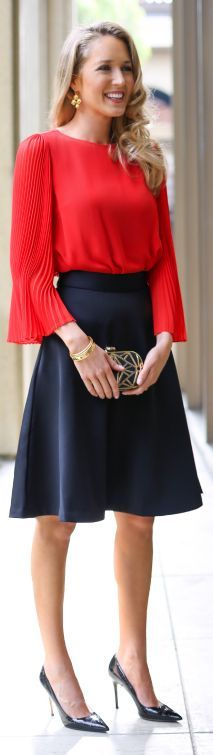 Red Pleat Sleeve Blouse by The Classy Cubicle
