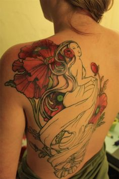 Art Nouveau tattoo - Exquisite tattoo, but I wish there were more details on the woman. #TattooModels #tattoo