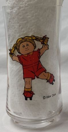 Vintage 1984 CABBAGE PATCH KIDS 12 oz. Drinking Glass - Exc Cond, Bright Colors #OAA #CabbagePatchKids