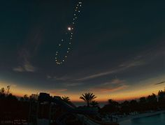 "Solar Eclipse Analemma (Image & copyright: Cenk E. Tezel & Tunç Tezel (TWAN)) Take a picture that includes the Sun in the same place every day & over a year the Sun positions make a figure-8 called an analemma. At northern Winter Solstice the Sun is at the bottom of the analemma. This analemma, shot in Turkey, starting in 2015, includes a total solar eclipse. The base image was taken during totality on 2009-03-29. Mona Evans, ""Winter Solstice"" http://www.bellaonline.com/articles/art179016.asp"