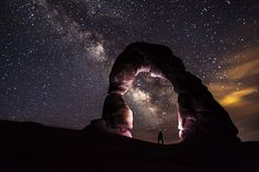 Milky Way Illumination At Delicate Arch, Arches National Park, Utah Delicate Arch, Us National Parks, Stars At Night, Milky Way, Canon Eos, Night Skies, Land Scape, The Great Outdoors, National Parks