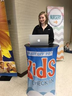 New Life Church, O'Fallon MO uses this lightweight portable counter with custom fabric graphic for Kid's Check-in Counter. Beautiful