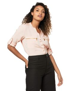 The MOST comfortable blouse,it perfect for work and for daily wear. The material is thick, so you don't have to wear a shirt under it.The fabric is matte and not shiny. #blouse #comfortable Calvin Klein Store, Calvin Klein Women, Womens Trendy Tops, Modern Essentials, Dressy Tops, How To Roll Sleeves, Blouse Online, Buttons, Clothes