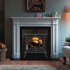 log burner in a fireplace (Tesco!) like hearth Fireplace Mantle, Living Room With Fireplace, Fireplace Surrounds, Fireplace Design, Stone Fireplaces, Living Rooms, Edwardian Fireplace, Edwardian House, Inset Log Burners