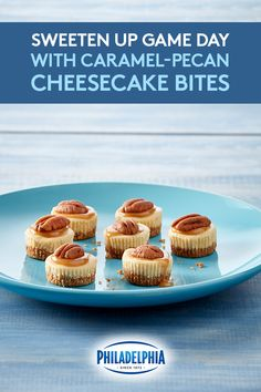 Sweeten up your big game day party with these easy Caramel-Pecan Cheesecake Bites! Made with rich and creamy Philadelphia Cream Cheese, graham cracker crust, caramel sauce, and pecans. They're perfectly bite sized so once you pick them up, they won't touc Pecan Cheesecake, Cheesecake Bites, Cheesecake Recipes, Gourmet Recipes, Sweet Recipes, Dessert Recipes, Pecan Desserts, Bar Recipes, Party Desserts