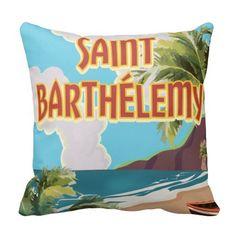 Saint Barthélemy Island Vintage Travel Poster Pillows