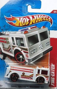 "Hot Wheels 2011 '' FIRE-EATER"" THRILL RACERS RACEWAY '11 - 6 of 6 - 222/244 White by Mattel/Hot Wheels. $7.49. die cast metal and plastic parts. ages 3+. 1:64 scale. Hot Wheels 2011 '' FIRE-EATER"" THRILL RACERS RACEWAY '11 - 6 of 6 - 222/244 White"