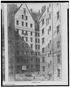 "Sketch of the interior courtyard of the Dakota Apartment building - ""flats"", c.1884. At, 1 West 72nd Street & Central Park, New York City. ~ {cwl} ~~ (LOC image)"