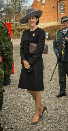 Crown Princess Mary, April 10, 2015 in Susanne Juul Hat; visiting Aabenraa War Memorial to commemorate 75th anniversary of German occupation of Denmark in WWII.