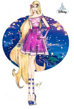 Croqui Rapunzel/Princesa Disney... Croquiando com Grazi Santos...