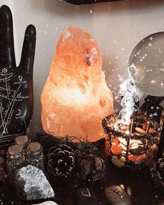 """I got you something you've wanted since before we were together"" My boyfriend knows me too well. #altar #witch #crystals #saltlamp #crystallamp #witchesofinstagram"