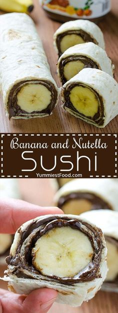 Kids Meals Banana and Nutella Sushi - Easy and healthy snack. Kids will love this Banana and Nutella Sushi. - Banana and Nutella Sushi - Delicious, cute, easy and quick! Easy and healthy snack! Kids will love this Banana and Nutella Sushi! Yummy Snacks, Yummy Food, Nutella Snacks, Delicious Desserts, Cute Snacks, Yummy Yummy, Snacks Für Party, Snacks Kids, School Snacks