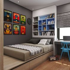 45 Best Boys Bedrooms Designs Ideas and Decor Inspiration Chambre Geek Boy Bedroom Design, Boys Bedroom Decor, Awesome Bedrooms, Bedroom Interior, House Rooms, Small Bedroom, Bedroom Colors, Interior Design Bedroom, Dream Rooms