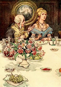 "10. ""Her short and snappish Replies to Sir Joseph's pretty Speeches at Dinner."" —  Alice B. Woodward Illustrations: The Pinafore Picture Book: The Story of H.M.S…"