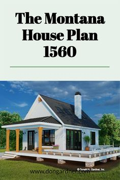 The Montana house plan 1560 is now in progress! 603 sq ft | 1 Bed | 1 Bath This tiny modern farmhouse is ideal for a vacation home or a rental property. A metal roof and wooden columns highlight the front porch while a deck wraps around the side of the home. Inside, find a cathedral ceiling with skylights above the great room and master bedroom. Special features include a three-sided fireplace, kitchen island, pantry, and a washer/dryer closet. #wedesigndreams #modernfarmhouse #tinyhouseplan Cottage House Plans, Country House Plans, Tiny House Plans, Cottage Homes, Cheap House Plans, Unique Small House Plans, Low Budget House, Wooden Columns, Fireplace Kitchen