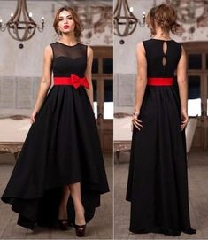 Cheap bridesmaid dresses, Buy Quality bridesmaid black dresses directly from China bridesmaid dress black Suppliers: vestido de festa Stunning black Hi-Lo Bridesmaid Dresses with red Bow cheap wedding prom dresses custom made Black Bridesmaids, Black Bridesmaid Dresses, Maid Of Honour Dresses, Evening Dresses, Formal Dresses, Formal Prom, Party Gowns, Prom Party, Designer Gowns