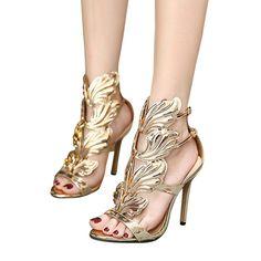 dc27f48a8978 KLV - Leaf Flame High Heel Sexy Peep toe Shoes. Strappy High HeelsHot High  HeelsStiletto HeelsWomen s ...